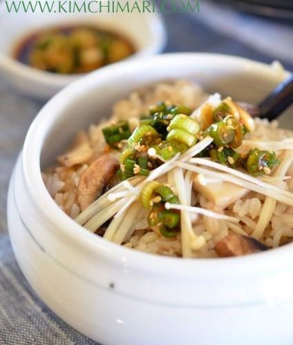 Korean Mushroom Rice (버섯밥 Beoseot Bap)