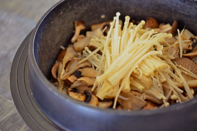 Mushroom Rice Cooked in Pot