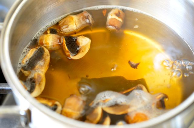 Mushroom stock for Korean Mushroom Rice (버섯밥 Beoseot bap) - AFTER