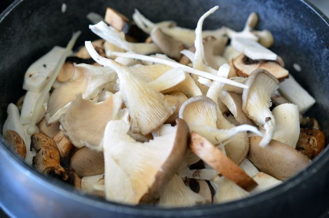 Mushrooms added to pot