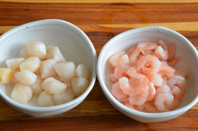 Thawed shrimp and scallop