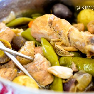 Soy Sauce Chicken Dakdoritang with Chili Peppers and Colored Potatoes