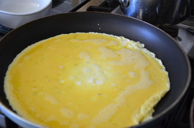 eggs cooking in pan