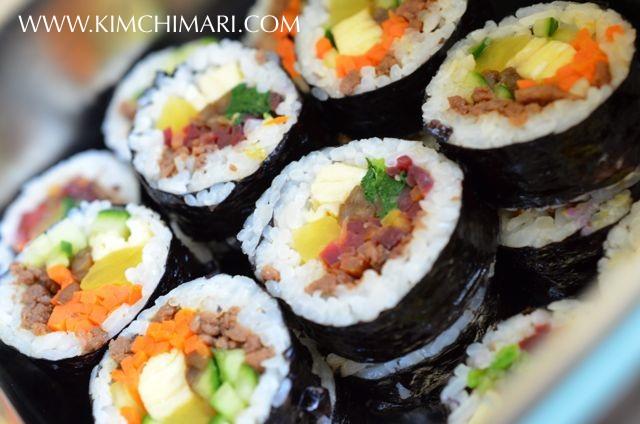 Gimbap (Kimbap) closeup in stainless lunchbox