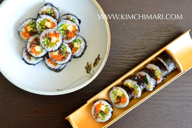 Kimbap or Gimbap - Korean dried seaweed rice rolls