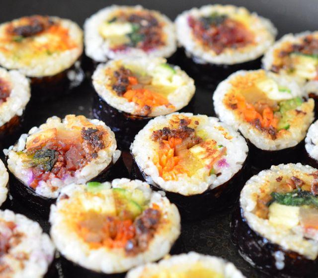 Pan-fried Kimbap in Sesame Oil