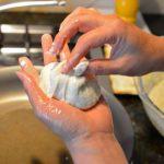 closing up dough for hotteok