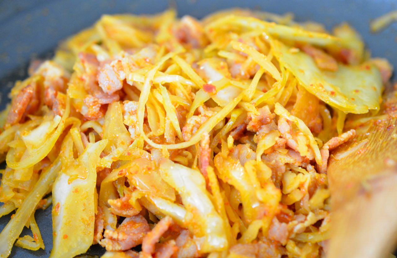 Sauteed sauerkraut and bacon for mock kimchi rice