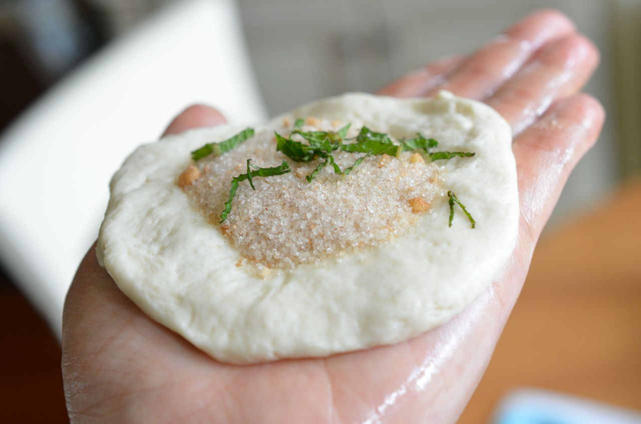Mint sugar filled hotteok/hodduk (Korean sweet dessert pancake)