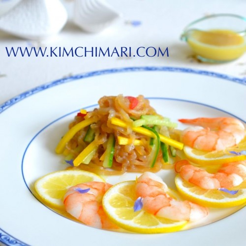 Korean jellyfish salad (Haepari Naengchae) with lemon and borage petals