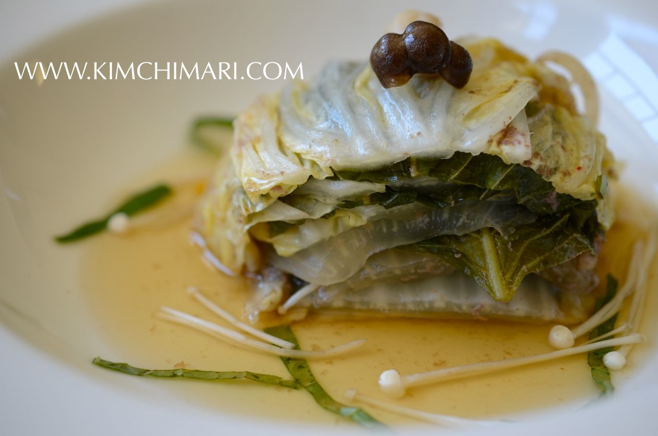 individual serving of mille-feuille nabe (shabu shabu) with broth