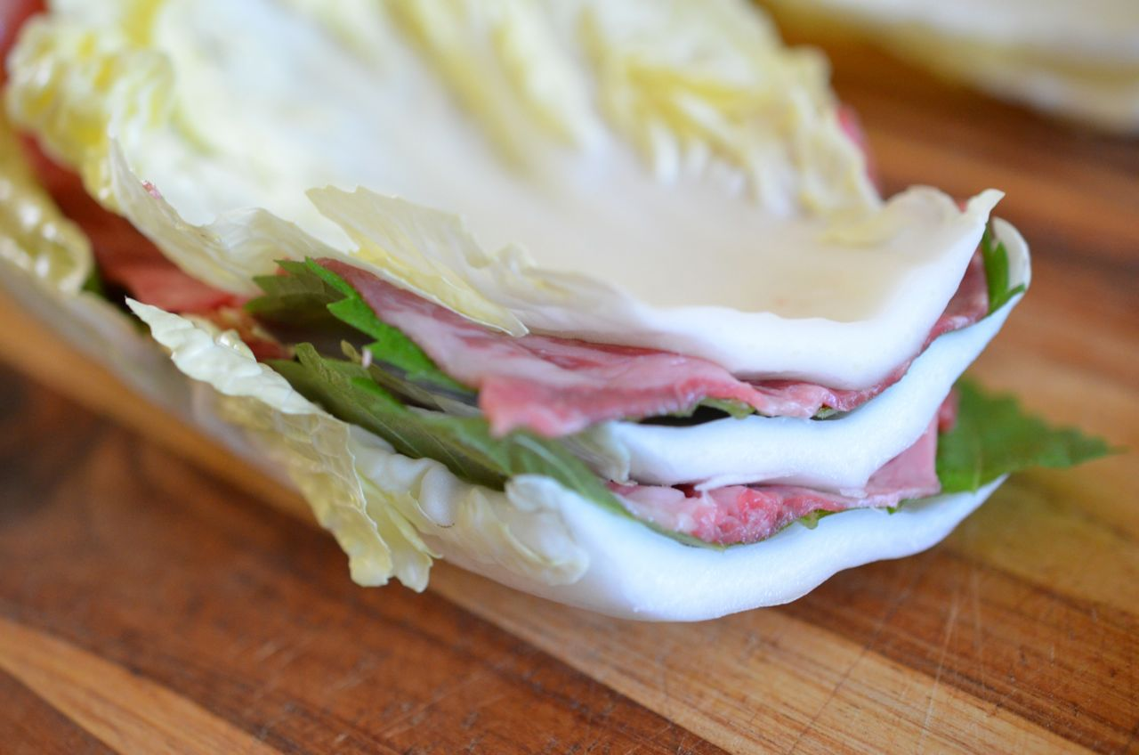 Mille-feuille stack with cabbage, perilla and beef - completed for Thousand Leaves Nabe
