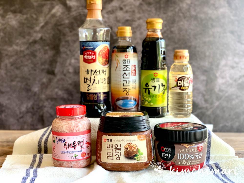 fish sauce, soy sauce, mirin, doenjang, gochujang jars