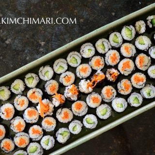 Mini Kimbap two ways: carrot & cucumber