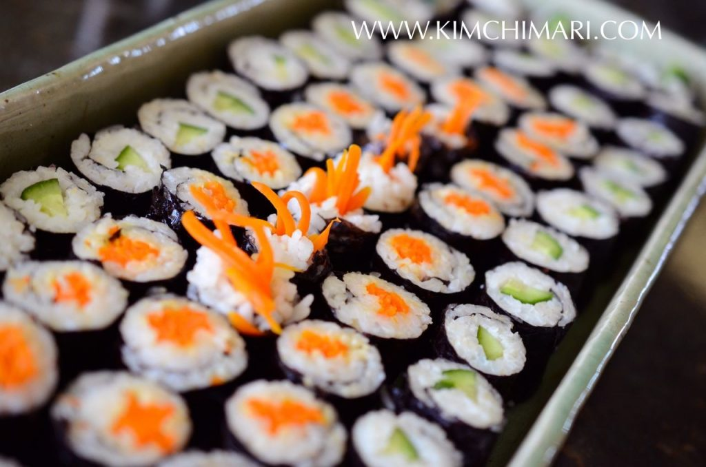 Mini Kimbap two ways - with carrots and cucumbers