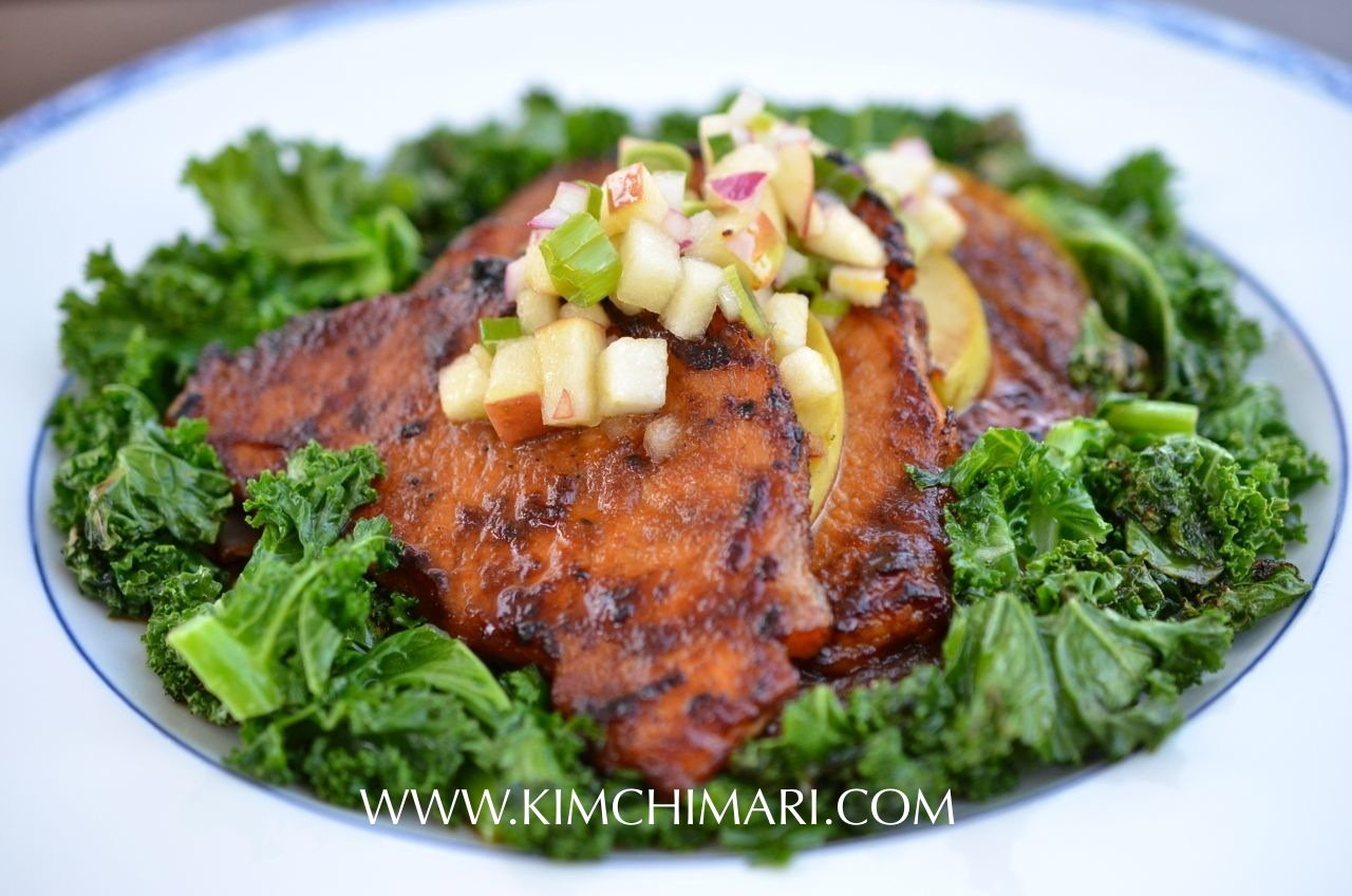 Apple Pork Bulgogi with Kale and Apple Salsa | Kimchimari