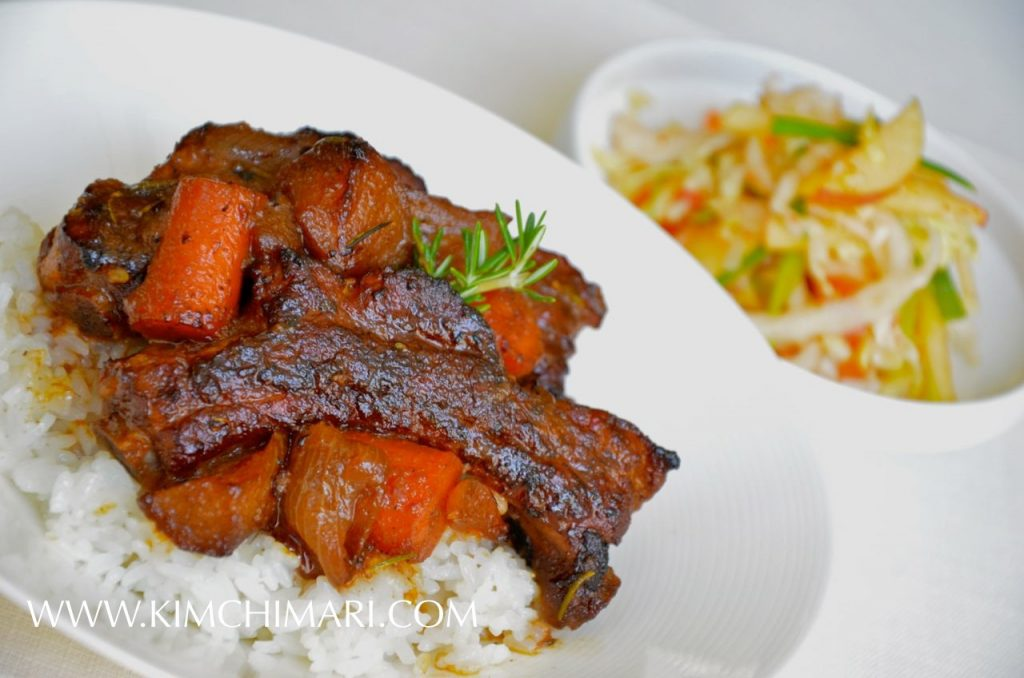 Apple Soy Braised Pork Ribs with Apple Kimchi Slaw
