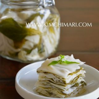 Korean Perilla Cabbage Pickle (Kkaetnip Yangbaechoo Chojeolim)