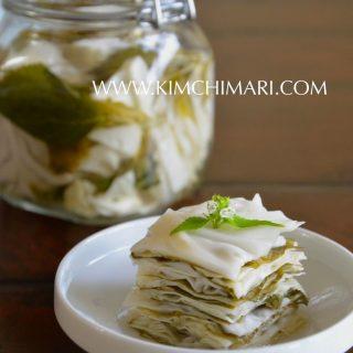 Korean Perilla Cabbage Pickle (Kkaetnip Yangbaechoo Chojeolim)