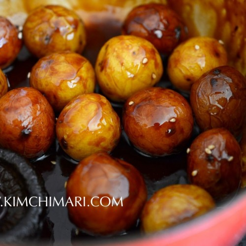 Korean glazed potato dish finished in pot