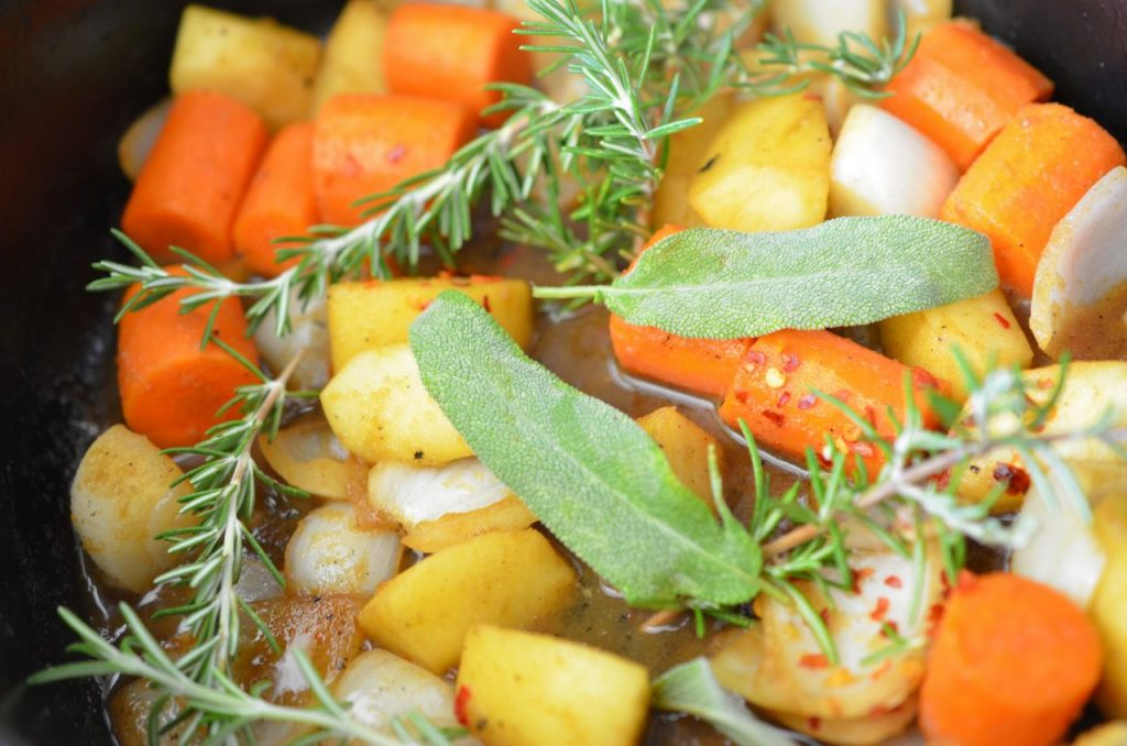 Veggies and herbs for Apple Soy Braised pork ribs