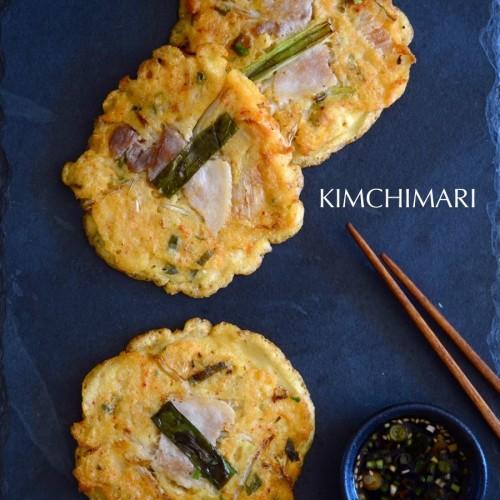 Bindaetteok (Korean mung bean pancake)on black slate