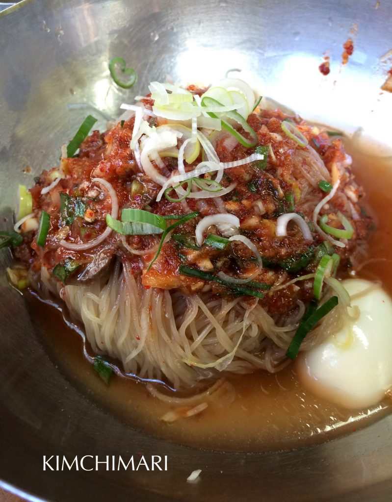 Korean bibim cold noodles at PIldong Myeonok