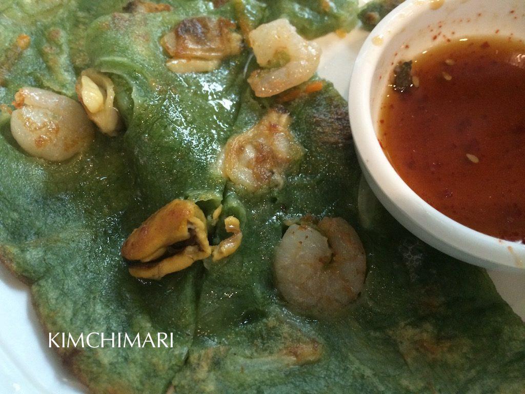 Korean seafood pancake made with seaweed (매생이전 Maesaengi Jeon)