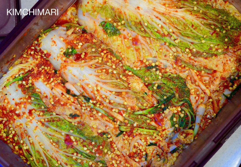Gochussi Kimchi (Cabbage Kimchi with chili seeds)