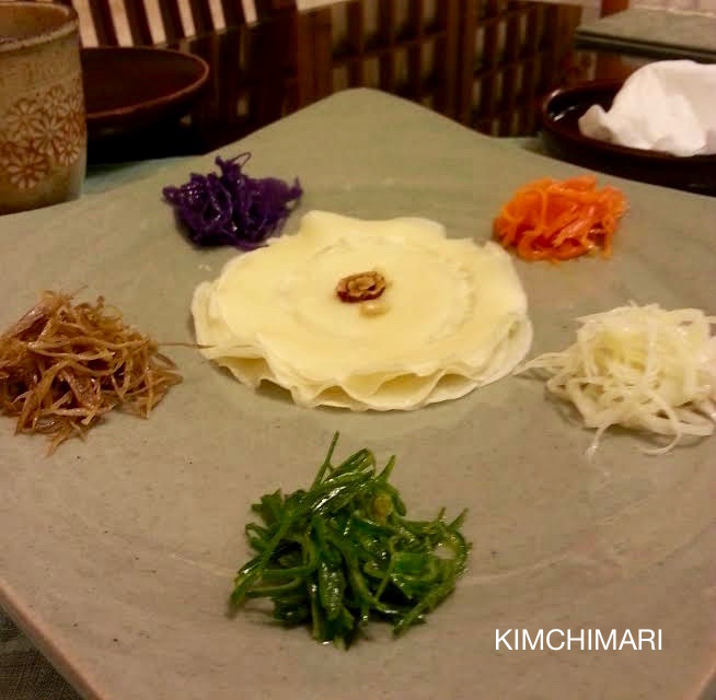 Gujeolpan - 9 vegetable pancake but it's actually just 5 here. Clockwise from top (carrots, bell flower roots, cucumbers, burdock root, purple cabbage