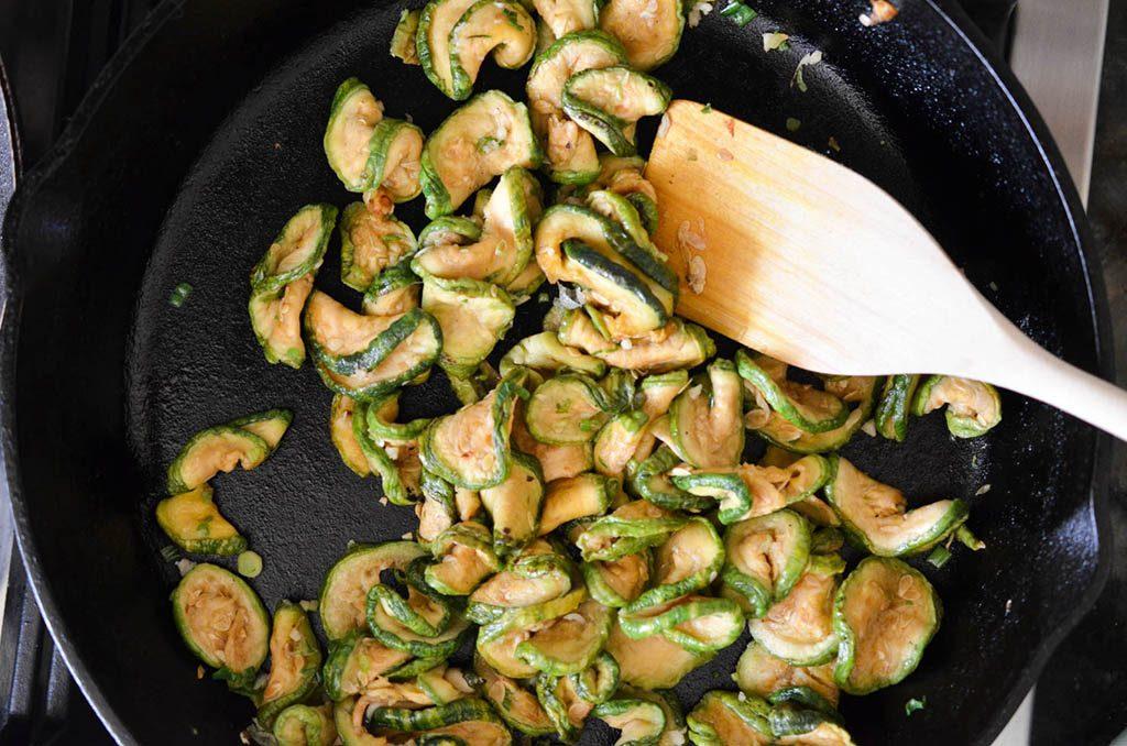 Dried Zucchini Namul in pan