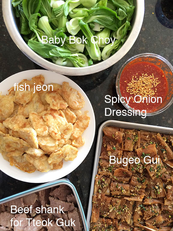 Korean New Year's banchan menu forTteok Guk