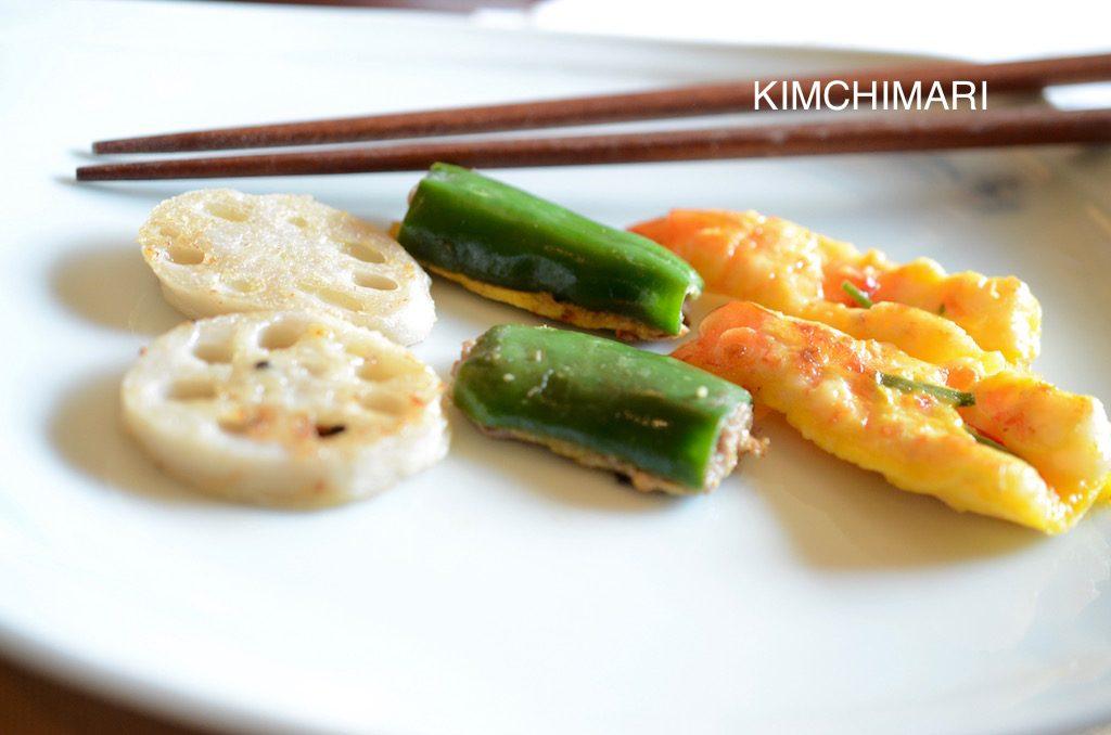 Assorted Korean Jeon (Lotus Roots, Green Peppers, Shrimp)