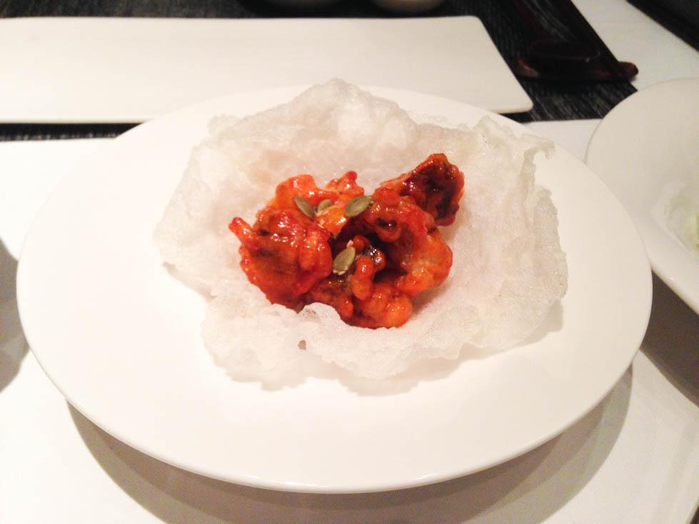 Fried Shitake mushrooms on rice cracker