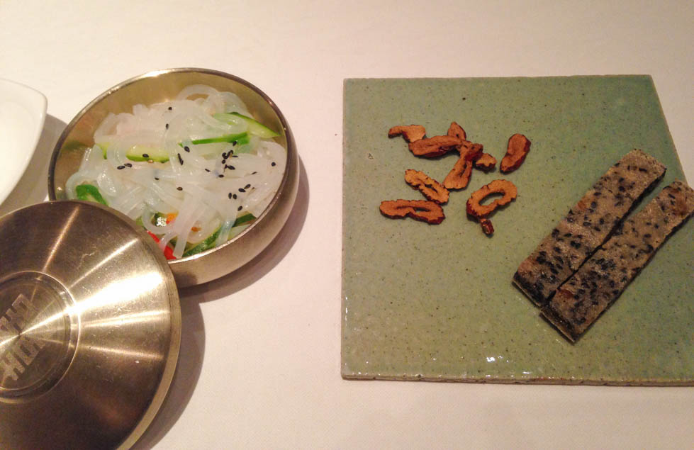 mungbean jelly, dried jujubes and black sesame crackers