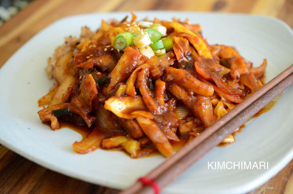 Aufnahme von Ojingeo Deopbap (Rühr-gebratener Tintenfisch auf Reis)