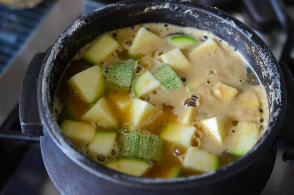 Tofu and Squash added to Soybean Paste Stew