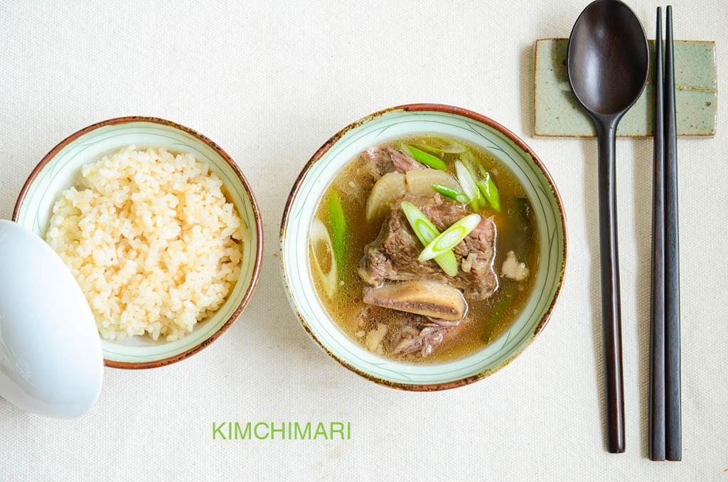 Rice and Short Rib Soup (Galbitang) served