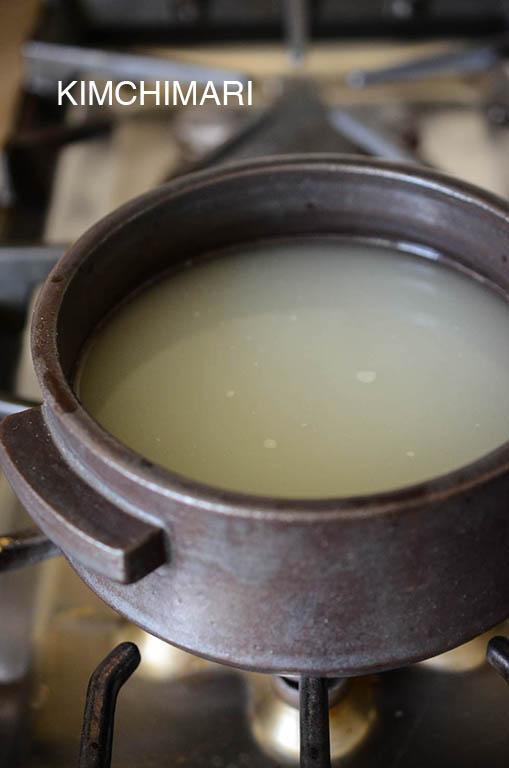 Rice water for Doenjang Jjigae
