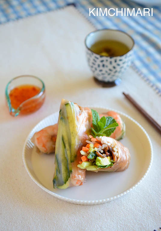 Pork Bulgogi Spring Rolls with Chrysanthemum Tea