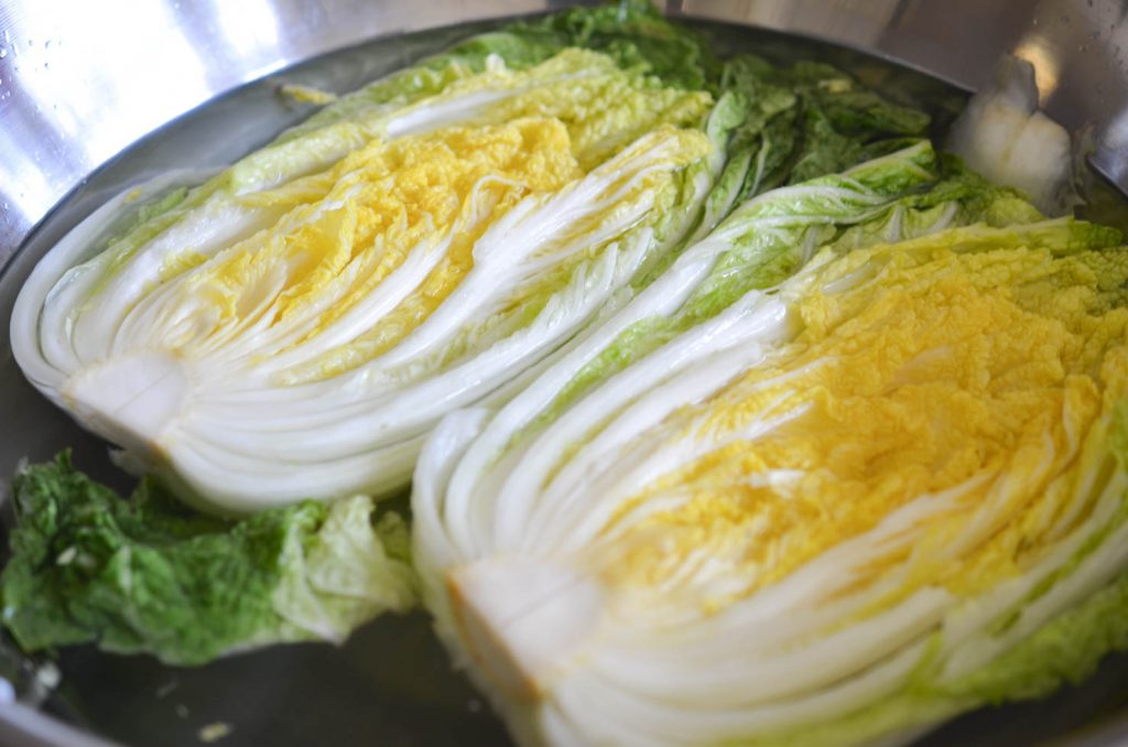 brining cabbage for easy kimchi