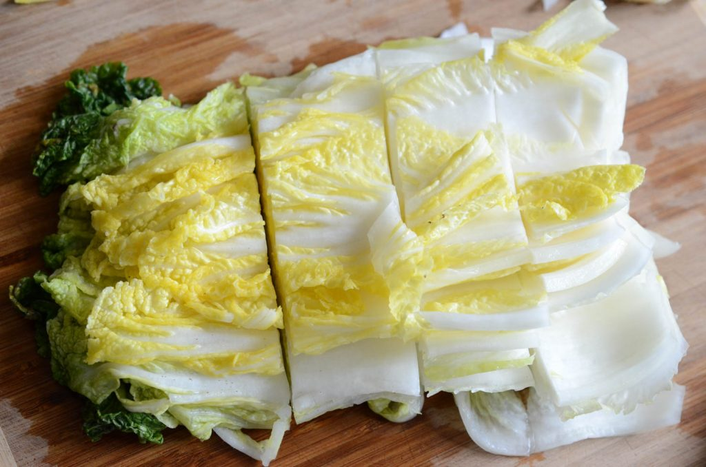 Cutting cabbage for Easy Kimchi