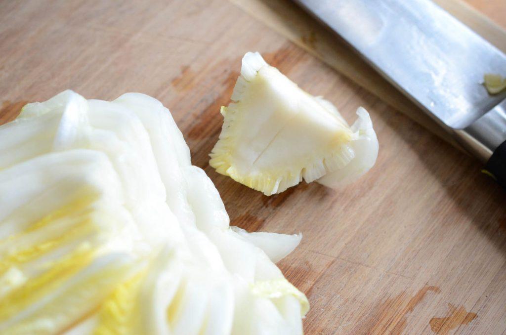 cutting cabbage core