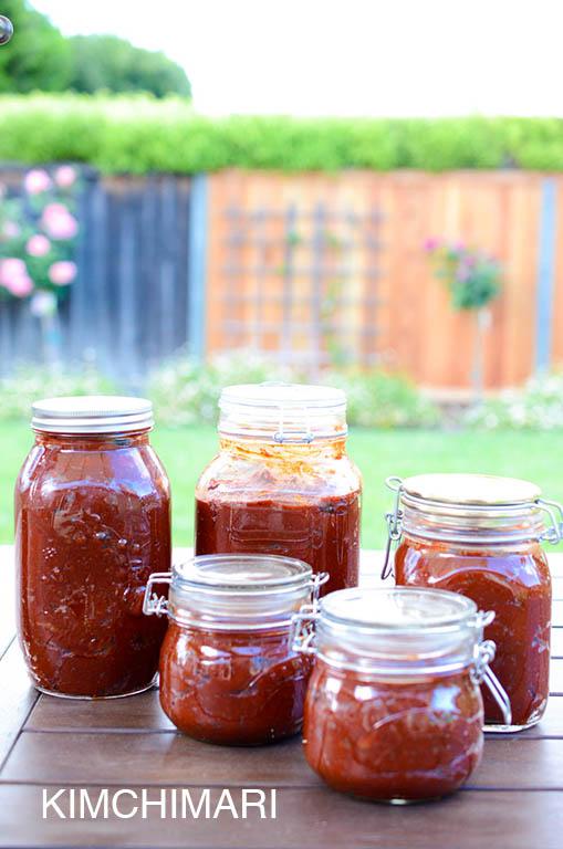 Gochujang bottled in canning jars