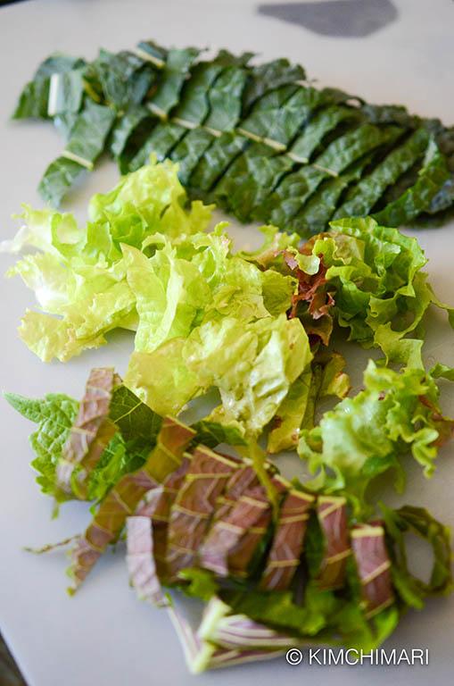 Cut Salad Greens for Soba Noodle Salad