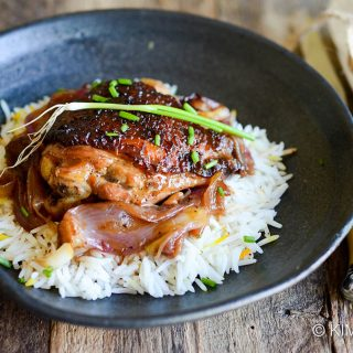Braised Korean Chicken in Soy Ginger Lemon Sauce served on rice