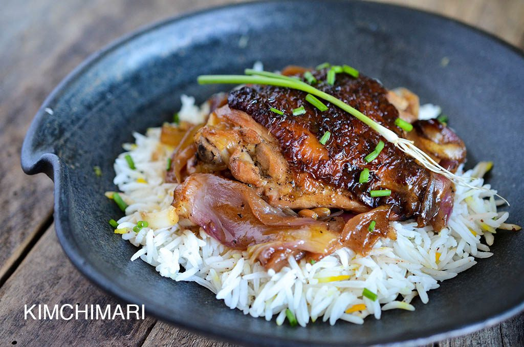 Korean Soy Ginger Oven Chicken on rice
