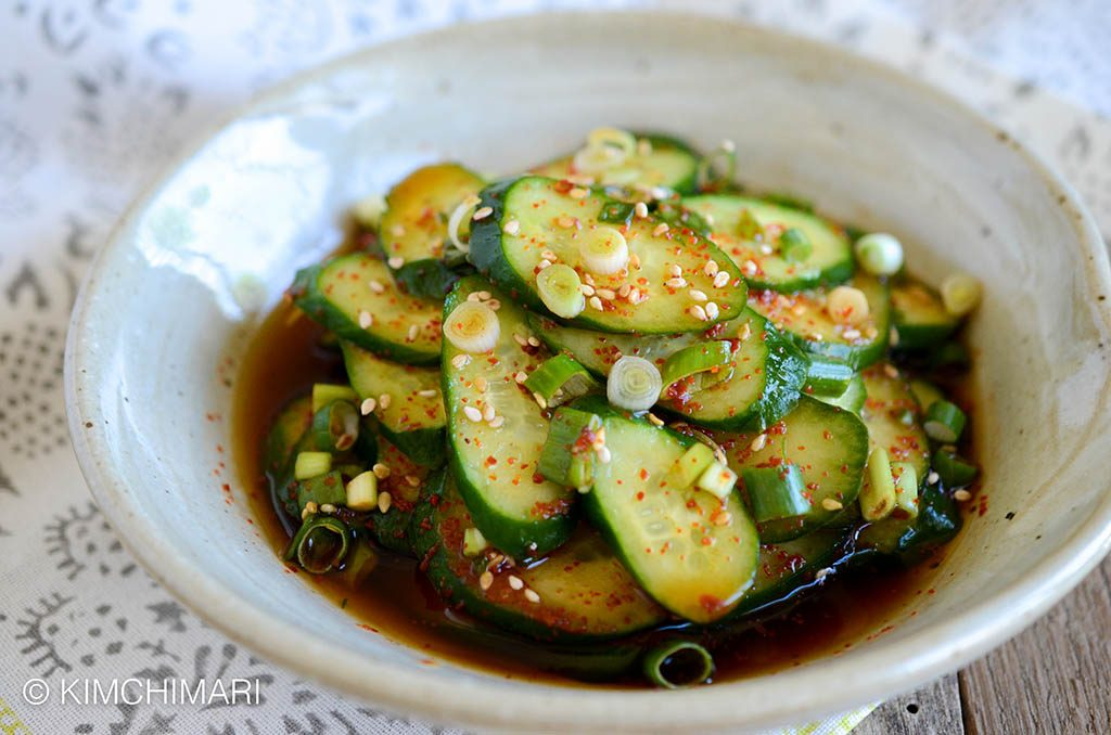 Korean cucumber salad in a white bowl