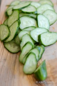 Cucumber slices for Oi Muchim (Korean cucumber salad)