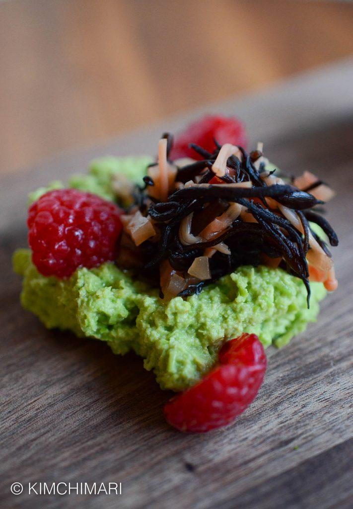Green Pea Hummus with seaweed salad